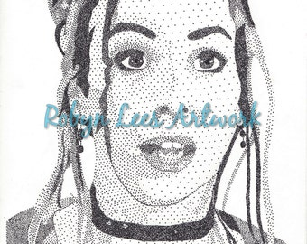 Alyson Hannigan Art Print, Stippling Dots in Ink Artwork Actress as Willow from Buffy Inspired