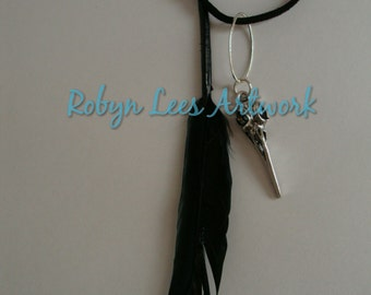 Silver Crow Raven Bird Skull with Black Feather Necklace on Black Faux Suede Cord or Silver Crossed Chain