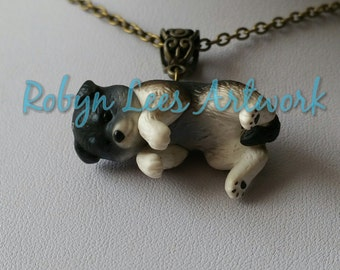 3D Husky Dog Puppy Necklace on Bronze Crossed Chain, Cute Pets