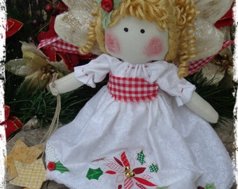 Adorable Christmas Angel Rag Doll, Primitive Raggedy Folk Art, Holiday Decor, Shelf Tuck, OFG FAAP