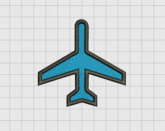 Airplane Airliner Jet Mini Fill Stitch Embroidery Design in 1x1 2x2 3x3 4x4 5x5 and 6x6 Sizes