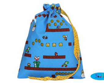 Project Bag | Sock Bag | Knitting Bag | Drawstring Pouch | Nintendo Bag | Mario Brothers Pouch