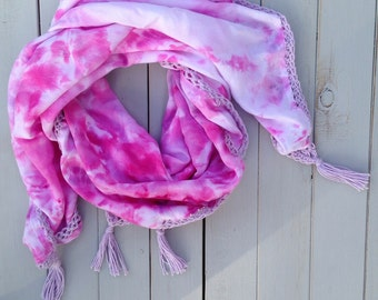 Hand dyed square cotton scarf with crochet trim