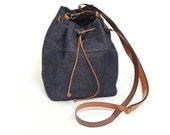Denim bucket bag,small bucket bag,jeans bag,denim handbag,shoulder bag,small crossbody bag,mini bucket bag,blue bag,fabric bag,original gift