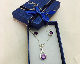 Sterling Silver and Amethyst Gemstone Necklace and Earring Jewelry Set