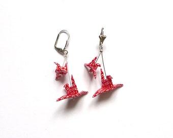 Origami Boucles d'oreilles Grues Rouge