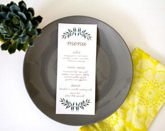 Printable OR Printed Wedding Menu // Leaves