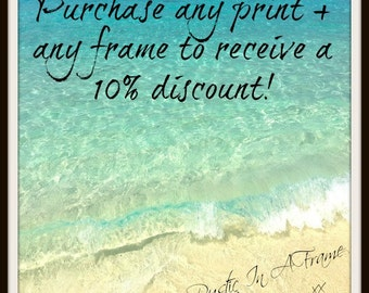 Framed Photograph, Beach Photography, Coastal Wall Art, Choose a Print & Matching Frame, Wooden Picture Frame 8x10