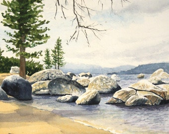 "Lake Tahoe, California - Watercolor signed & numbered limited Edition Print 11"" x 14"""