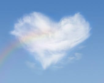 Rainbow and heart shaped cloud: 8x10 photography print.