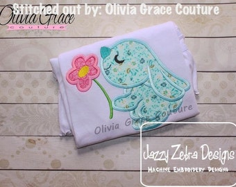 Bunny Holding Flower Appliqué Embroidery Design - Bunny applique design - Rabbit appliqué design - Easter appliqué design - Spring Appliqué