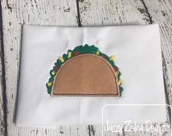 Taco Applique Embroidery Design - taco applique design - taco tuesday appliqué design - mexican food appliqué design - food appliqué design