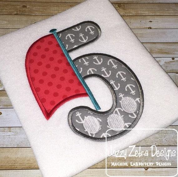 Five Sailboat Appliqué embroidery Design - 5th birthday appliqué design - five year - fifth birthday appliqué design - Sail boat appliqué
