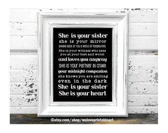 Black and White, Gift Ideas for Sister, Printable Art, Gifts for Sisters, Quote Poster, Christmas Gift Ideas for Sister, Big Sister Gift