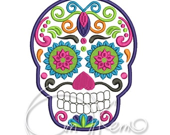 MACHINE EMBROIDERY FILE - Sugar Skull embroidery, Dia de los muertos, Día de los Angelitos, Day of the dead embroidery