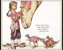 Dinotopia Art Print, 8 x 10 Print, Girl and Baby Dinosaurs, James Gurney Artist, Science Fiction, Fantasy, Archaeology, Ready to Frame