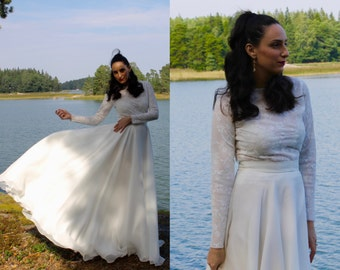 Long sleeve lace wedding dress, long sleeve boho wedding dress, bohemian wedding dress, modest wedding dress, lace wedding dress, wedding.