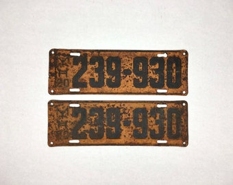 Vintage Michigan License Plates Set of Matching 1920 Old Metal Michigan License Plates Antique Metal License Plates Matching Set Orange 1920