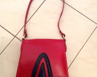 Vintage 60s 70s Red Blue Mod Hand Shoulder Bag Mod