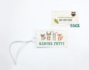 Woodland Animals bag tag - personalized luggage tag