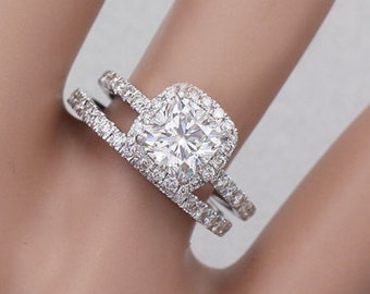 14K White Gold Cushion Cut Simulated Diamond Egagement Ring And Band 2.30ctw