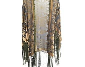 30% OFF Short Kimono Women Boho Kimono Gypsy Fringe  Kimono Cardigan Tassels Beach Cover Up Jacket Green