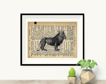 Lion King - Vintage Dictionary Page Art Print