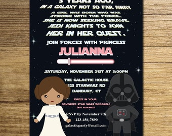 Star wars girl invitation/star wars invitation/princess Leia invitation/the force invite/digital file/also available professionally printed