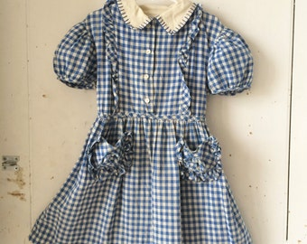 1940s 1950s Girls Cotton Blue Gingham DOROTHY GALE Wizard of Oz Style Dress Hand Stitched Size 12