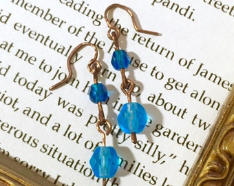 Blue Glass Bead Drop Earrings - Copper Earrings - Copper Jewelry - Wire Earrings - Small Earrings - Dainty Earrings- Teal Turquoise Cerulean