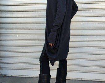 "Grey Asymmetric Long Sleeve Tunic Top / Women Casual Hoodie Blouse / Long Sleeves Dressy Top / Casual Maxi Shirt Top - ""LAZY MOON"""