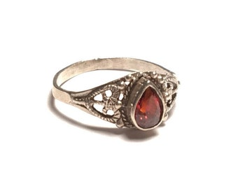 Silver Burnt Orange Teardrop Ring, 925 ring, orange ring, heart ring, teardrop ring,
