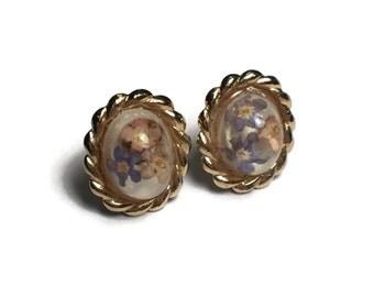 Flower Resin Earrings, Pressed Flowers, Floral, Jewelry