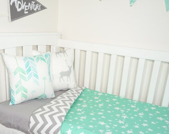 Jade and grey stars nursery set
