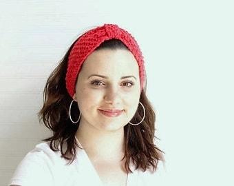 Red Knitted Knot Headband/Head Warmer