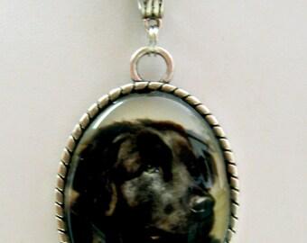 Black Newfoundland pendant with chain - DAP09-111