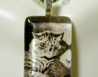 A love story cat pendant and chain - CGP09-025