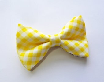 Yellow Gingham Bow Tie For Boy/Baby/Teen/Adult/With Adjustable strap/Clipon