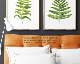 Fern Set of 2 Wall Poster, Green Kitchen Decor, Botanical Floral Painting, Abstract Leaf Art Print Watercolor Illustration Home Garden