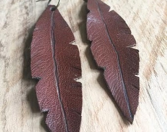 FLEATHER Earrings-Brown Leather Feather Earrings-Large