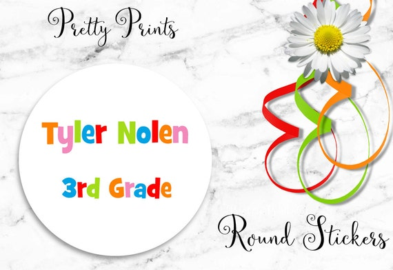 School Labels - Personalized Stickers - Colorful Letters - Set of 12 Round Labels - Personalized Labels - Tags, School Stickers