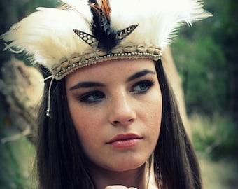 Native American Woman's indian Feather Tribal Headband ~ Festival Halloween Costume ~ Vintage Headband- Boho Vintage