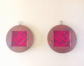 Set of 2 Antique framed Skeleton keys from Sargent & Norwalk Lock Co.