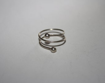 Wire Wrapped Ring Vintage Sterling Silver Ring Size 5/adj