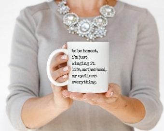 Winging it Mug, Personalized Coffee Mug, Gift for Her, Bridesmaid Gift, Teacher Gift, Funny Mug, Custom Gift, Funny Coffee Cup