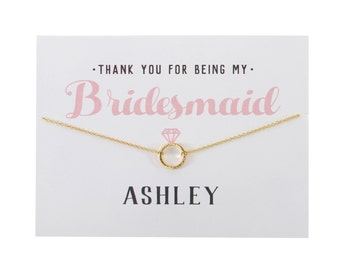 GOLD - Thank You Bridesmaid Card - Bridesmaid Gift - Bridesmaid Necklace