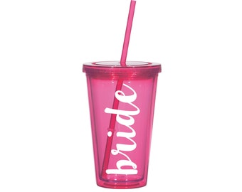 Custom Tumbler with Straw - Bride or Custom Name Pink Tervis Water Bottle with Lid and Straw - Pink & White