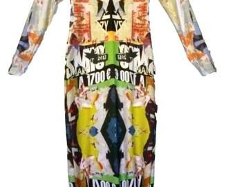 Austin Graphic Organic Cotton Dress - Long Sleeve Knee Length Multicolored Graffiti Print