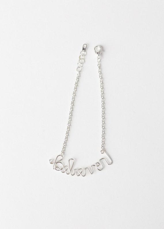 Believer Bracelet - Silver Believer Bracelet - Wire Word Jewelry – Believer Jewelry - Christian Jewelry–Christian Bracelet-Confirmation Gift