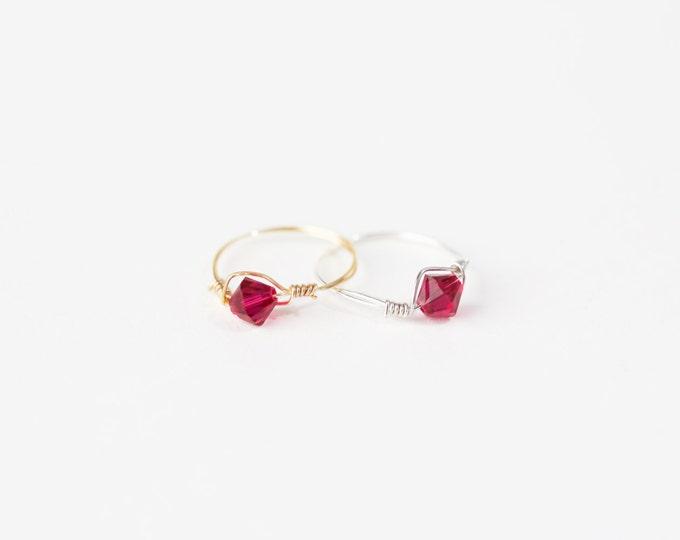 July Birthstone Ring - Swarovski Crystal Birthstone Ring - July Birthstone Crystal Bead Ring - Silver Birthstone Ring - Gold Birthstone Ring